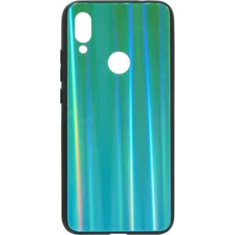 Чехол накладка Aurora Glass для Xiaomi Redmi 7 (зелено - синий)