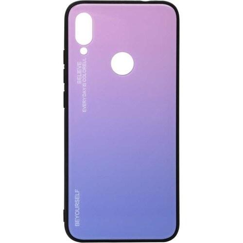 Чехол накладка Aurora Glass для Xiaomi Redmi 7 (розово - синий)