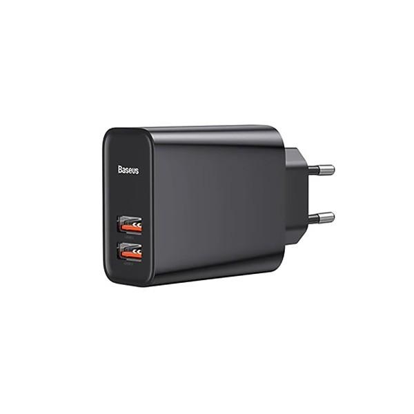 Сетевое зарядное устройство Baseus Speed Dual QC3.0 Quick charger U+U 30W EU Black CCFS-E01 1