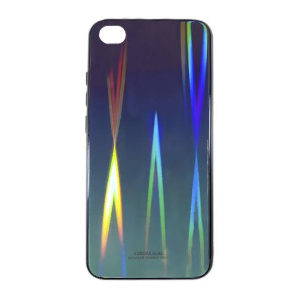 Чехол накладка Aurora Glass для Xiaomi Redmi GO (фиолетово - светлозеленый) 1