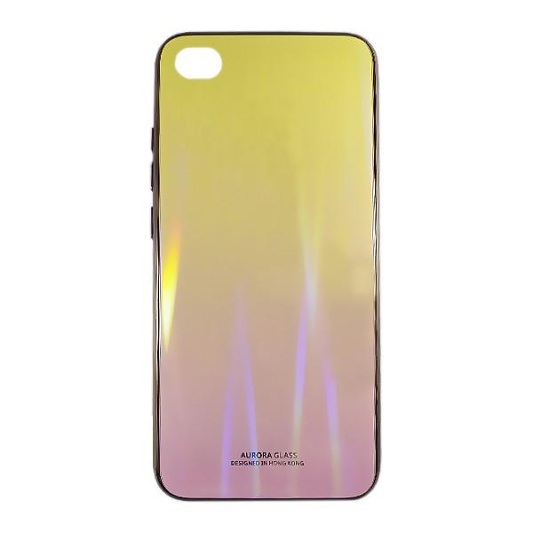 Чехол накладка Aurora Glass для Xiaomi Redmi GO (желто - розовый)