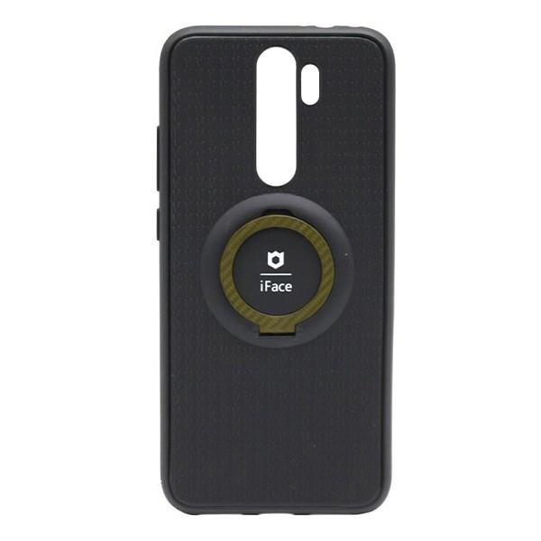 Чехол силиконовый iFace с подставкой и магнитом для Xiaomi Redmi Note 8 Pro (black-gold) 1
