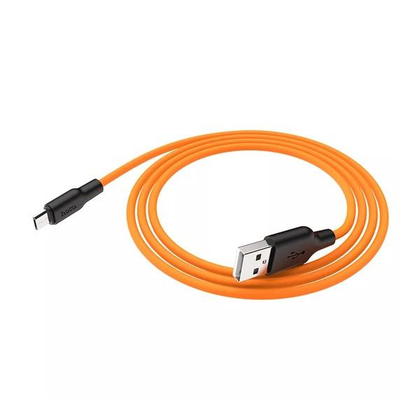 Кабель HOCO X21 Silicone Cable Micro-USB (L=0,25M), Black&Orange