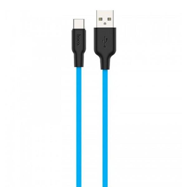 Кабель HOCO X21 Silicone Cable Type-C (L=0,25M), Black&Blue