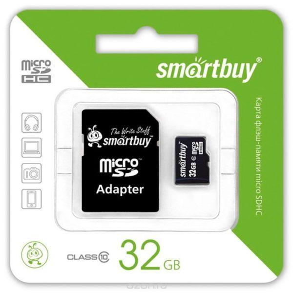 Карта памяти Smart Buy MicroSD 32Gb Class 10 с SD адаптером