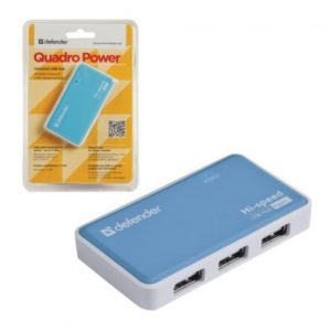 Хаб Defender Quadro Power 4 порта, USB 2.0, 2А (Blue)