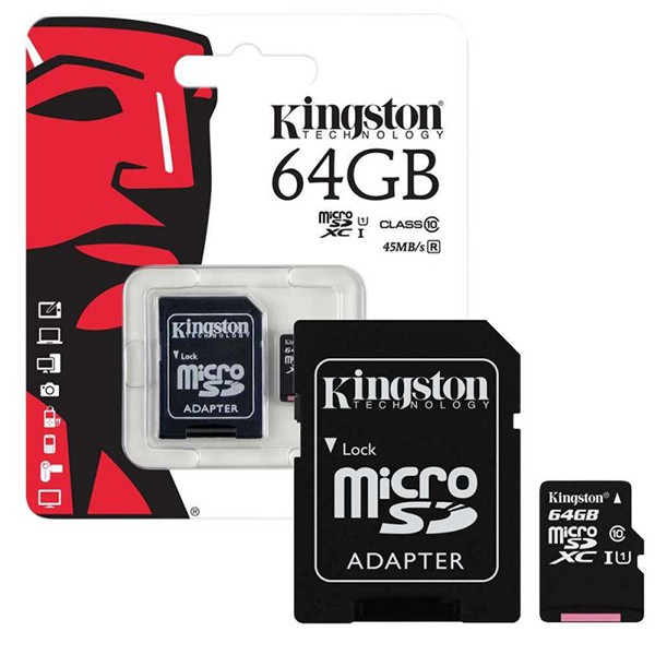Карта памяти Kingston MicroSD 64Gb Class 10 UHS-I (80 Mb/s) с SD адаптером