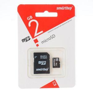 Карта памяти Smart Buy MicroSD 2Gb Class 10 с SD адаптером