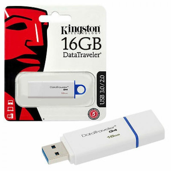 Флеш-накопитель Kingston 16GB USB 3.0 Data Traveler G4 (DTIG4) (White & Blue)