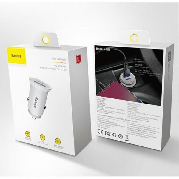 Автомобильное зарядное устройство BaseusCircularPlasticA+C30WPPSCarCharger CCALL-YS01