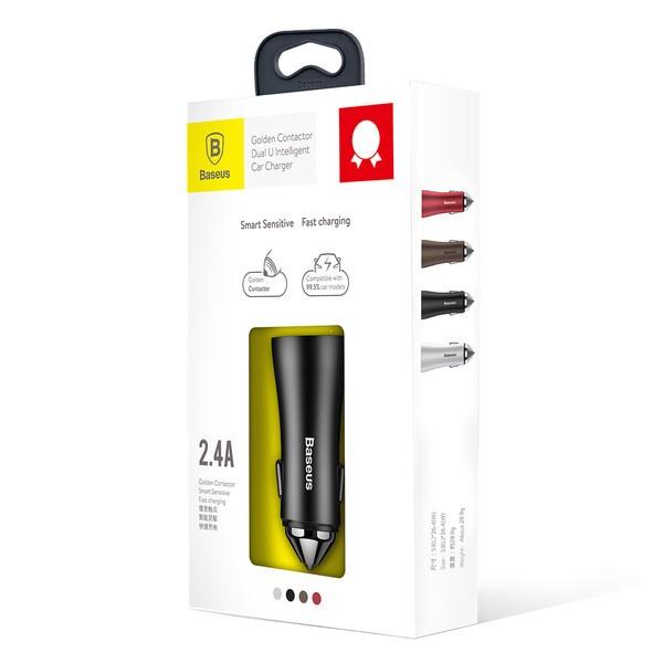 Автомобильное зарядное устройство Baseus Golden Contactor Dual U Intelligent CCALL-DZ01 Black