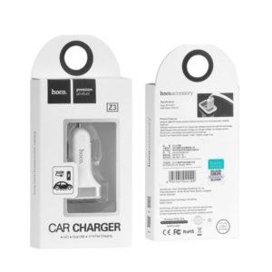 Автомобильное зарядное устройство Hoco Z3 White