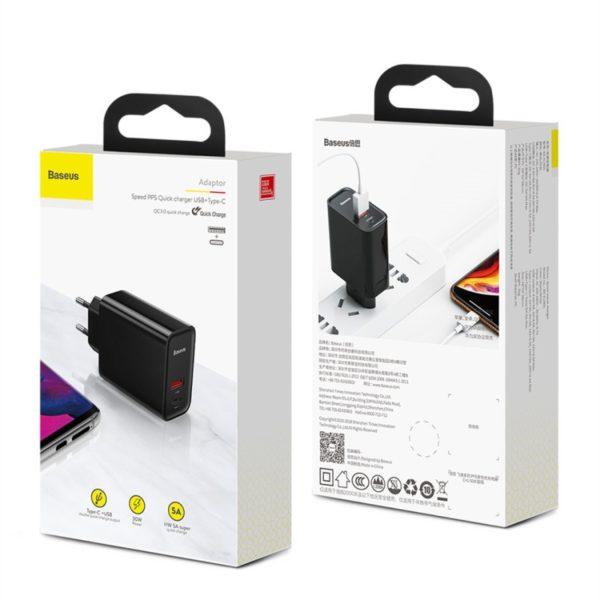 Сетевое зарядное устройство Baseus Speed PPS Quick Charger Type C (Black) CCFS-C01 1