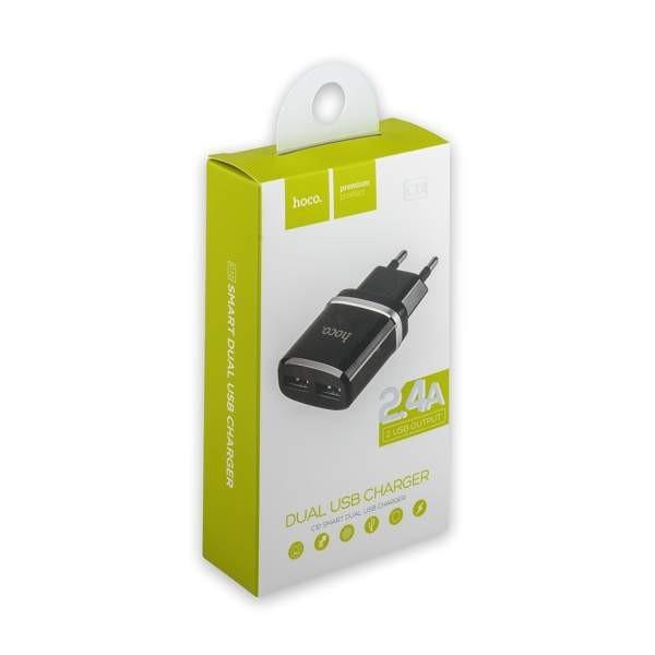 Сетевой адаптер HOCO C12 Dual USB Charger 2.4A (Black) 1