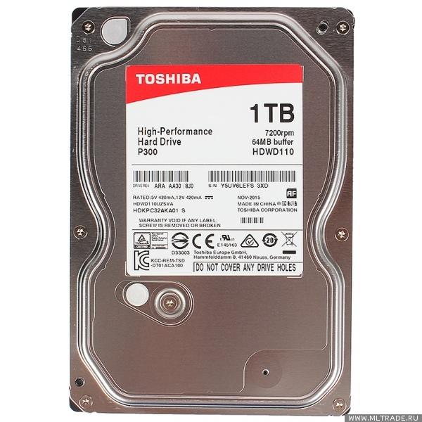 "Жесткий диск 3.5"" 1Тб Toshiba P300 (HDWD110UZSVA)"